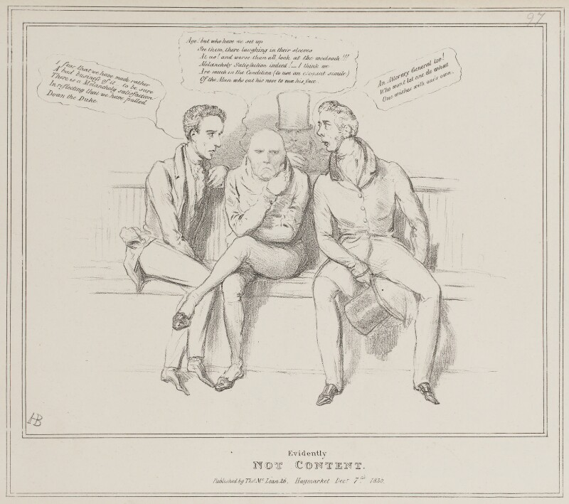 Evidently Not Content, by John ('HB') Doyle, published by  Thomas McLean, published 7 December 1830 - NPG D41032 - © National Portrait Gallery, London