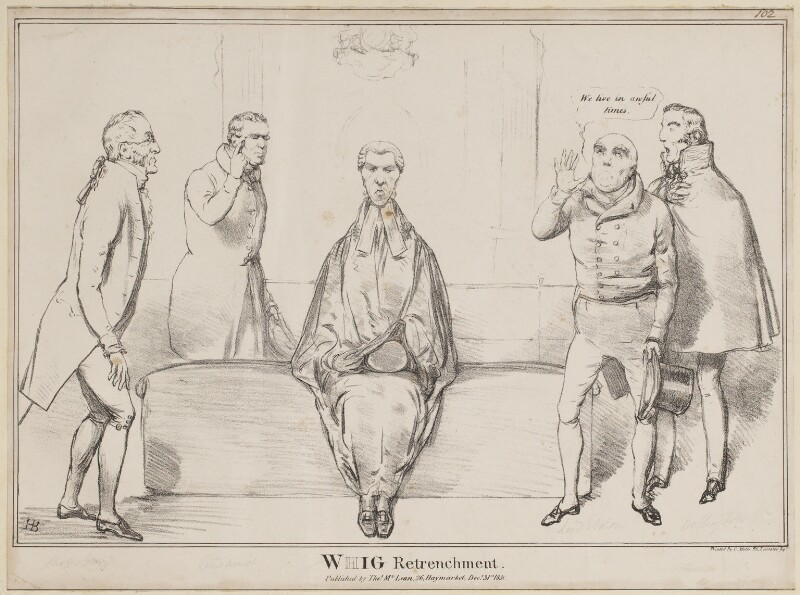 Whig Retrenchment, by John ('HB') Doyle, printed by  Charles Etienne Pierre Motte, published by  Thomas McLean, published 31 December 1830 - NPG D41037 - © National Portrait Gallery, London