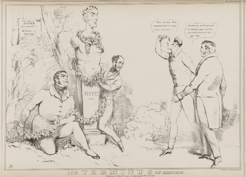 The Terminus of Reform, by John ('HB') Doyle, printed by  Charles Etienne Pierre Motte, published by  Thomas McLean, published 12 February 1831 - NPG D41043 - © National Portrait Gallery, London