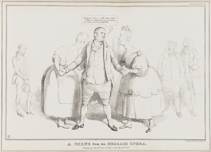 A Scene from the Beggar's Opera, by John ('HB') Doyle, printed by  Charles Etienne Pierre Motte, published by  Thomas McLean, published 9 March 1831 - NPG D41049 - © National Portrait Gallery, London