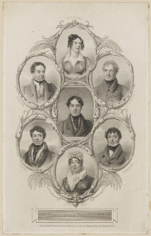 Catherine Capell-Coningsby (née Stephens), Countess of Essex; William Dowton; Robert William Elliston; Charles Mayne Young; Richard Jones; John Braham; Mary Ann Davenport (née Harvey), by William Thomas Fry, published by  Sherwood, Jones & Co, after  Thomas Charles Wageman, published 1825 - NPG D38603 - © National Portrait Gallery, London