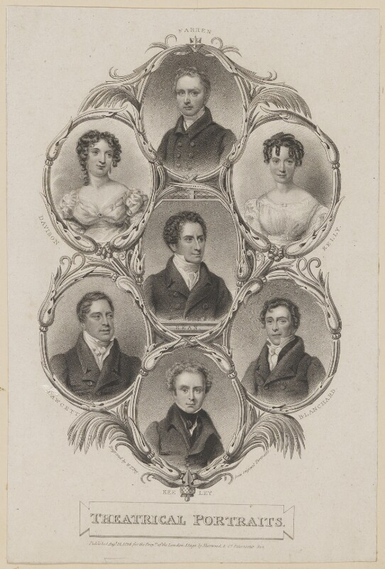William Farren; Maria Rebecca Davison (née Duncan); Frances Harriet Kelly; Edmund Kean; John Fawcett; William Blanchard; Robert Keeley, by William Thomas Fry, published by  Sherwood & Co, probably after  Thomas Charles Wageman, published 1826 - NPG D38604 - © National Portrait Gallery, London