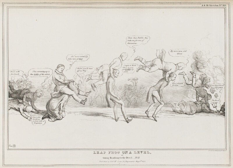 Leap Frog on a Level.  or Going Headlong to the Devil - Pl. 2, by John ('HB') Doyle, printed by  Charles Etienne Pierre Motte, published by  Thomas McLean, published 6 May 1831 - NPG D41061 - © National Portrait Gallery, London