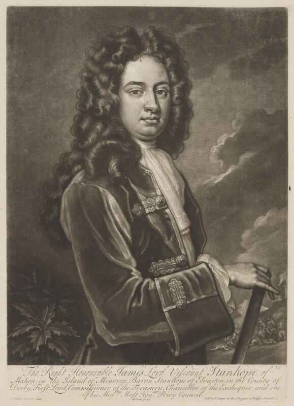 James Stanhope, 1st Earl Stanhope, by John Simon, sold by  Edward Cooper, after  Sir Godfrey Kneller, Bt, circa 1710-1714 (circa 1705-1710) - NPG D41854 - © National Portrait Gallery, London