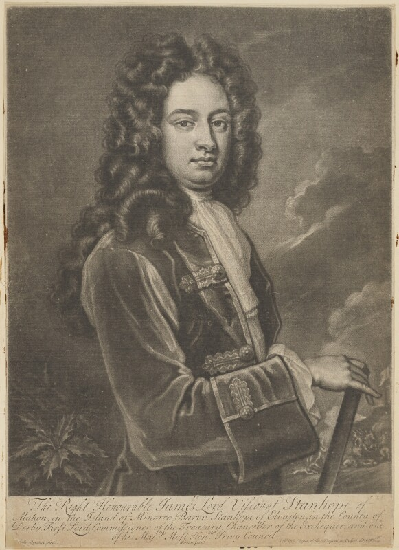 James Stanhope, 1st Earl Stanhope, by John Simon, sold by  Edward Cooper, after  Sir Godfrey Kneller, Bt, circa 1710-1714 (circa 1705-1710) - NPG D41855 - © National Portrait Gallery, London