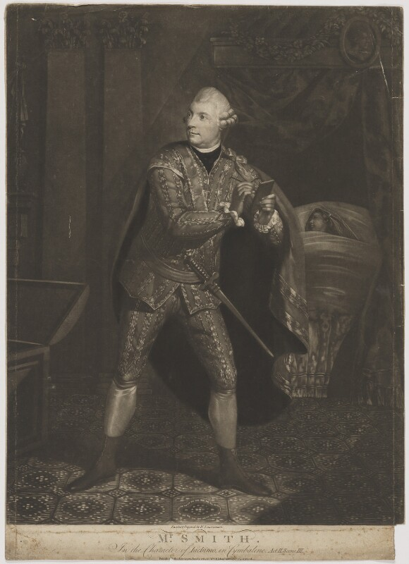 William ('Gentleman') Smith in the Character of Iachimo in Cymbaline, by William Lawranson, published by  William Richardson, published 1 January 1784 - NPG D41775 - © National Portrait Gallery, London