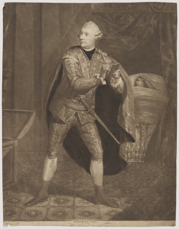 William ('Gentleman') Smith in the Character of Iachimo in Cymbaline, by William Lawranson, published 1784 - NPG D41776 - © National Portrait Gallery, London