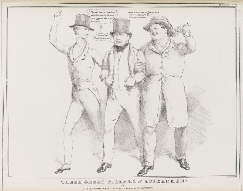 Three Great Pillars of Government.  or A Walk from White Conduit House to St Stephens, by John ('HB') Doyle, published by  Thomas McLean, published 23 July 1831 - NPG D41078 - © National Portrait Gallery, London