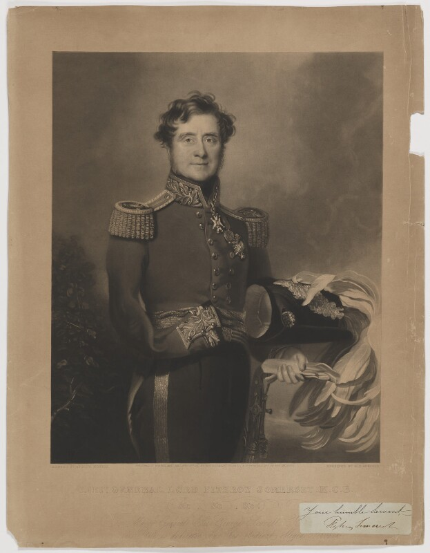FitzRoy James Henry Somerset, 1st Baron Raglan, by William Oakley Burgess, published by  Paul and Dominic Colnaghi & Co, after  Andrew Morton, published 31 August 1841 - NPG D41826 - © National Portrait Gallery, London