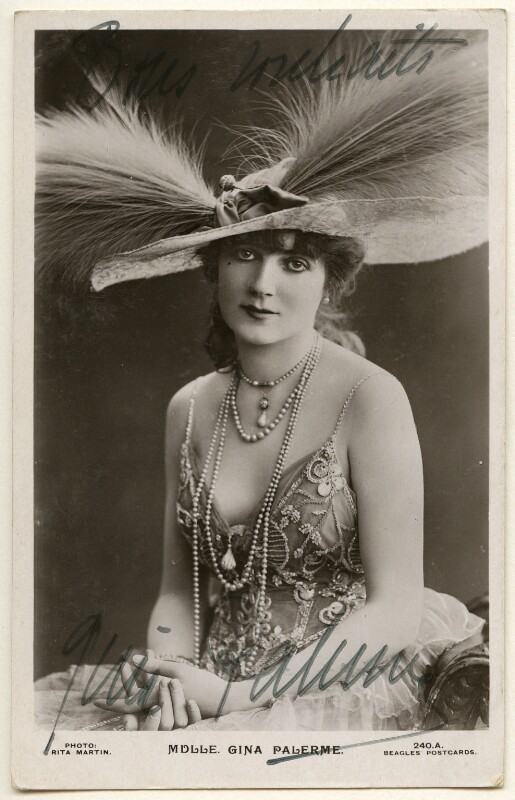 Gina Palerme, by Rita Martin, published by  J. Beagles & Co, mid 1910s - NPG Ax160376 - © National Portrait Gallery, London