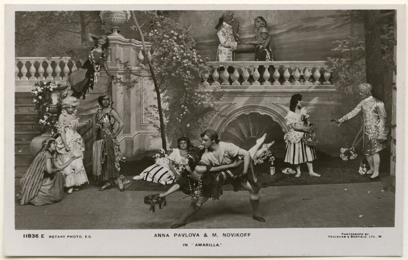 Anna Pavlova and Laurent Novikoff in 'Amarilla', by Foulsham & Banfield, published by  Rotary Photographic Co Ltd, 1914 - NPG Ax160383 - © National Portrait Gallery, London