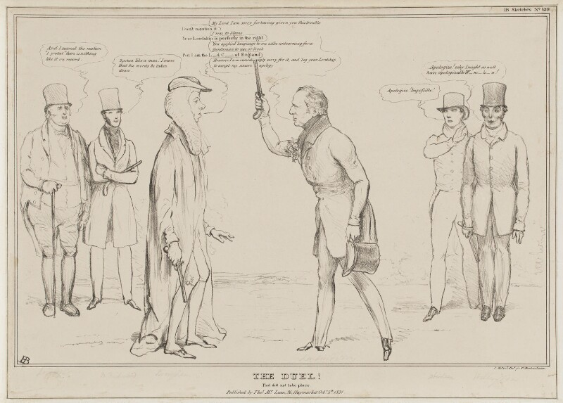 The Duel! That did not take place., by John ('HB') Doyle, printed by  Charles Etienne Pierre Motte, published by  Thomas McLean, published 5 October 1831 - NPG D41094 - © National Portrait Gallery, London