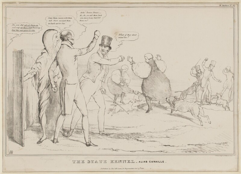 The State Kennel - Alias Canaille, by John ('HB') Doyle, printed by  Charles Etienne Pierre Motte, published by  Thomas McLean, published 17 October 1831 - NPG D41096 - © National Portrait Gallery, London