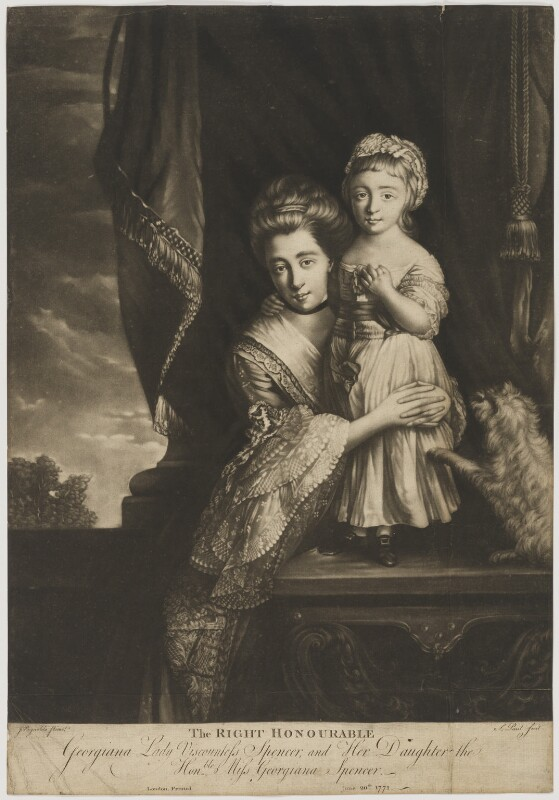 (Margaret) Georgiana Spencer (née Poyntz), Countess Spencer; Georgiana Cavendish (née Spencer), Duchess of Devonshire, by P. or S. Paul (Samuel de Wilde?), after  Sir Joshua Reynolds, published 20 June 1771 (1759-1761) - NPG D41998 - © National Portrait Gallery, London