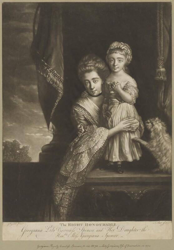 (Margaret) Georgiana Spencer (née Poyntz), Countess Spencer; Georgiana Cavendish (née Spencer), Duchess of Devonshire, by P. or S. Paul (Samuel de Wilde?), after  Sir Joshua Reynolds, (1759-1761) - NPG D41999 - © National Portrait Gallery, London