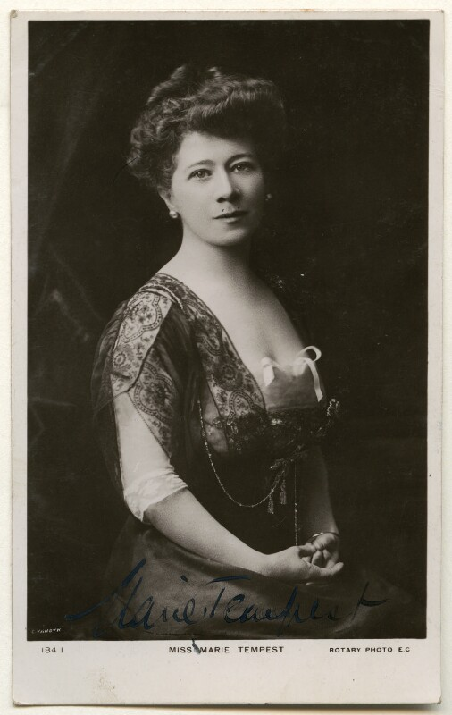 Marie Tempest, by Carl Vandyk, published by  Rotary Photographic Co Ltd, early 1900 - NPG Ax160438 - © National Portrait Gallery, London