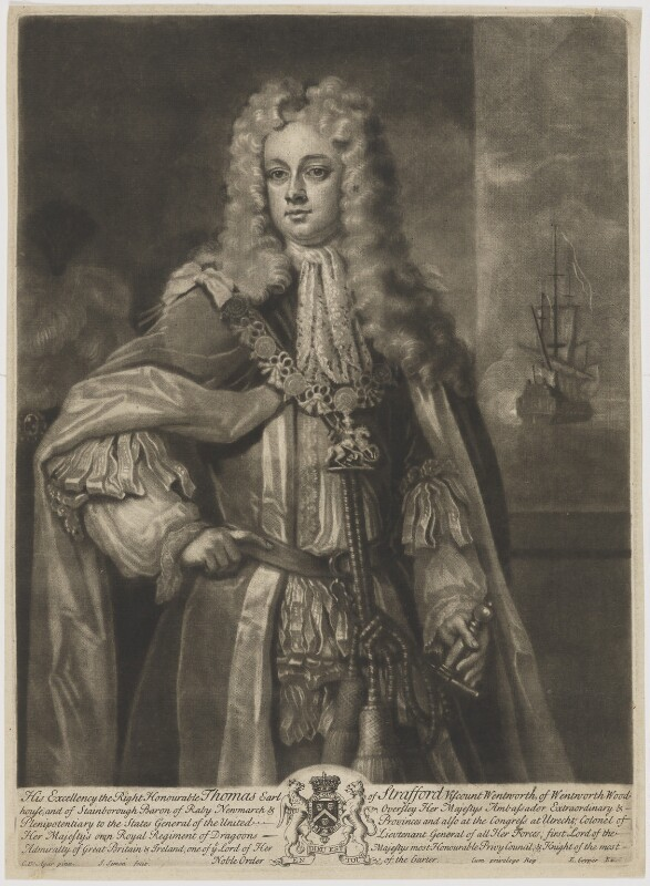 Thomas Wentworth, 1st Earl of Strafford, by John Simon, published by  Edward Cooper, after  Charles D'Agar, circa 1700-1725 - NPG D42075 - © National Portrait Gallery, London