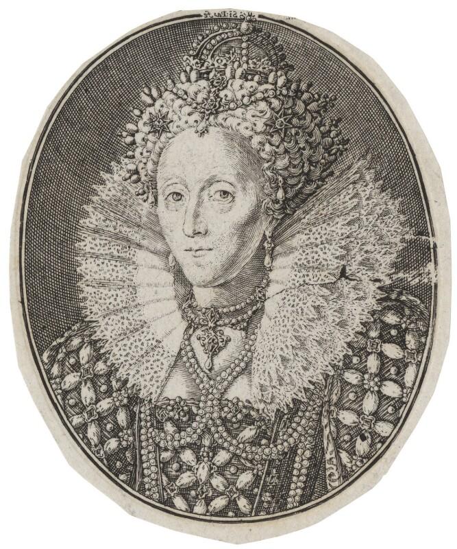 Queen Elizabeth I, by Simon de Passe, after  Isaac Oliver, circa 1615-1620 - NPG D42191 - © National Portrait Gallery, London