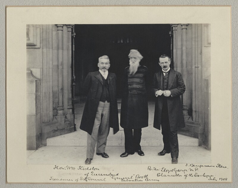 William Kidston; William Booth; David Lloyd George, by Sir (John) Benjamin Stone, July 1908 - NPG x135014 - © National Portrait Gallery, London