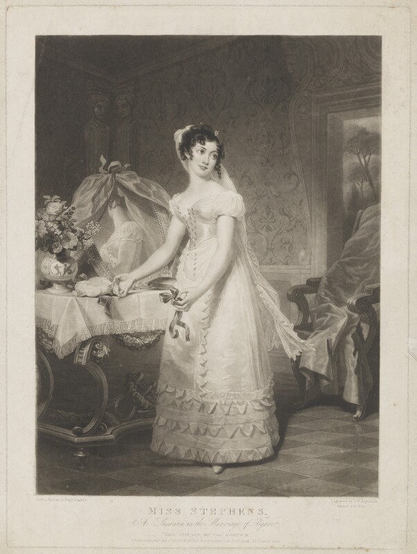 Catherine Stephens, Countess of Essex as Susanna in the Marriage of Figaro, by Samuel William Reynolds, published by  William Sams, after  Henri Jean-Baptiste Victoire Fradelle, published 1 July 1825 - NPG D42151 - © National Portrait Gallery, London