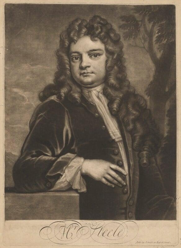 Sir Richard Steele, by John Simon, sold by  John Smith, after  Sir Godfrey Kneller, Bt, 1712-1713 (1711) - NPG D42157 - © National Portrait Gallery, London