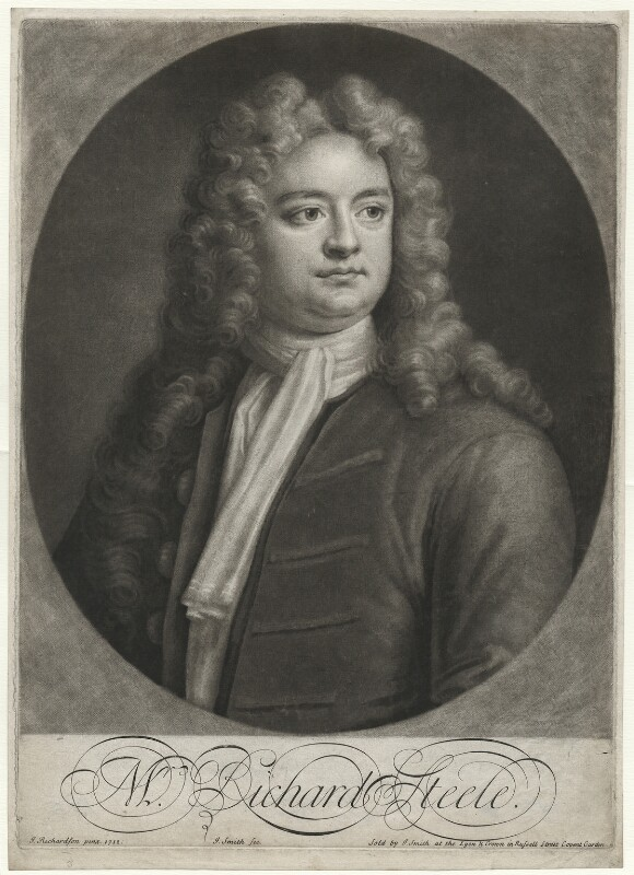 Sir Richard Steele, by and sold by John Smith, after  Jonathan Richardson, 1713 (1712) - NPG D42159 - © National Portrait Gallery, London