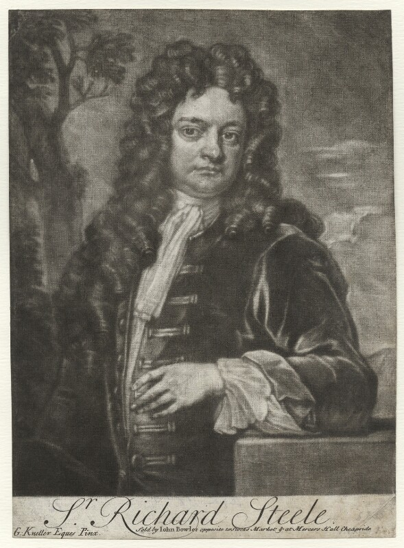 Sir Richard Steele, sold by John Bowles, after  Sir Godfrey Kneller, Bt, (1711) - NPG D42161 - © National Portrait Gallery, London