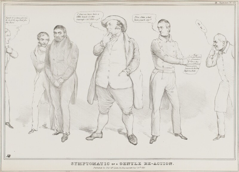 Symptomatic of a Gentle Re-Action., by John ('HB') Doyle, published by  Thomas McLean, published 20 December 1831 - NPG D41106 - © National Portrait Gallery, London