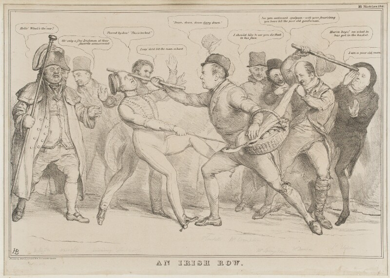 An Irish Row, by John ('HB') Doyle, printed by  Meifred, Lemercier & Co, published by  Thomas McLean, published 13 March 1832 - NPG D41119 - © National Portrait Gallery, London