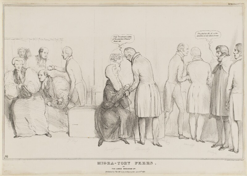 Migra-Tory Peers, or The Lords Breaking Up, by John ('HB') Doyle, printed by  Alfred Ducôte, published by  Thomas McLean, published 6 April 1832 - NPG D41125 - © National Portrait Gallery, London