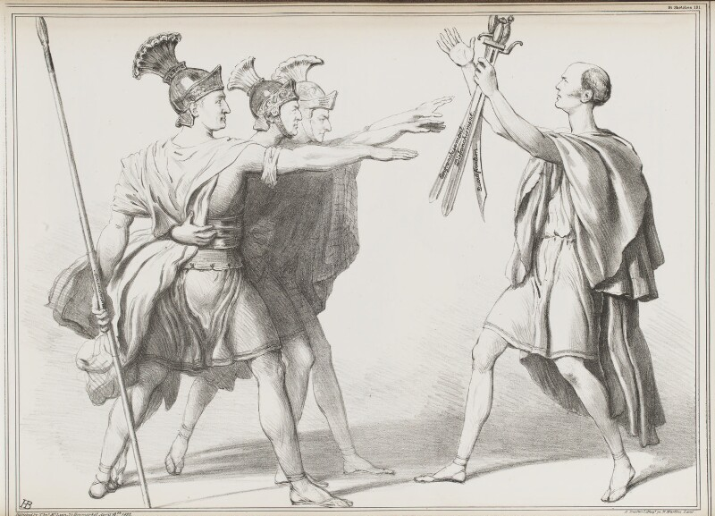 Swearing of the Horatii, by John ('HB') Doyle, printed by  Alfred Ducôte, published by  Thomas McLean, published 18 April 1832 - NPG D41126 - © National Portrait Gallery, London