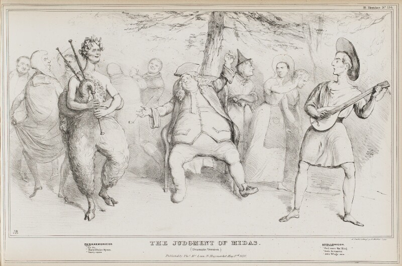 The Judgement of Midas, by John ('HB') Doyle, printed by  Alfred Ducôte, published by  Thomas McLean, published 3 May 1832 - NPG D41129 - © National Portrait Gallery, London