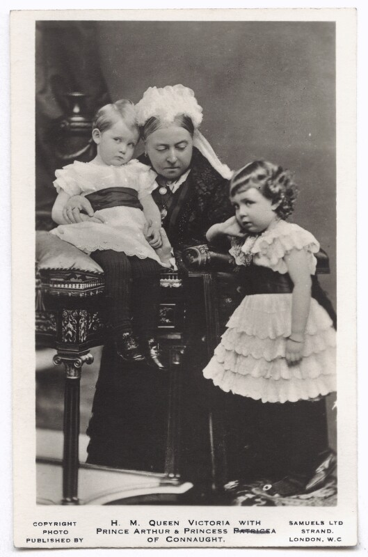 Prince Arthur of Connaught; Queen Victoria; Margaret, Crown Princess of Sweden, by Alexander Bassano, published by  J.J. Samuels Ltd, (26 November 1885) - NPG x135122 - © National Portrait Gallery, London