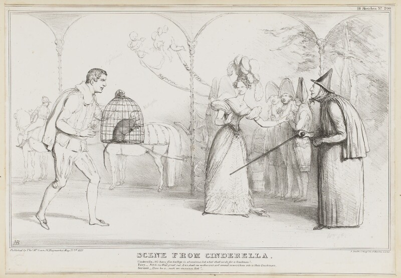 Scene from Cinderella, by John ('HB') Doyle, printed by  Alfred Ducôte, published by  Thomas McLean, published 22 May 1832 - NPG D41135 - © National Portrait Gallery, London