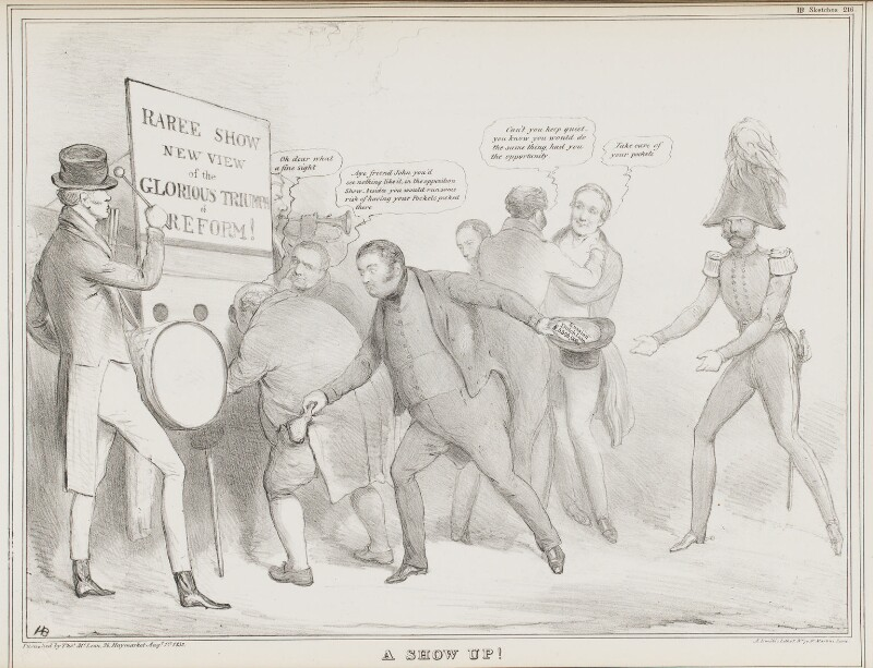 A Show Up!, by John ('HB') Doyle, printed by  Alfred Ducôte, published by  Thomas McLean, published 1 August 1832 - NPG D41151 - © National Portrait Gallery, London