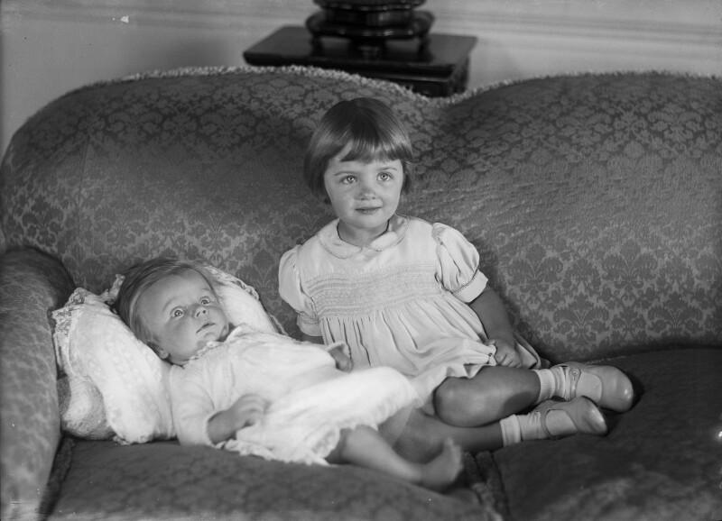 Sir John Ridley Evelyn Bradford, 4th Bt; Alison Rose Adams (née Bradford), by Bassano Ltd, 18 December 1941 - NPG x178189 - © National Portrait Gallery, London