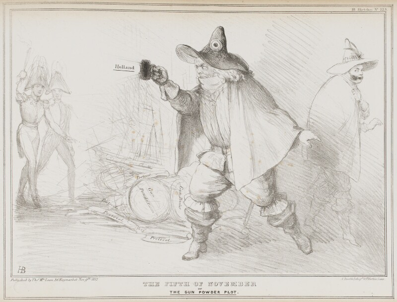 The Fifth of November or the Gun Powder Plot, by John ('HB') Doyle, printed by  Alfred Ducôte, published by  Thomas McLean, published 9 November 1832 - NPG D41164 - © National Portrait Gallery, London