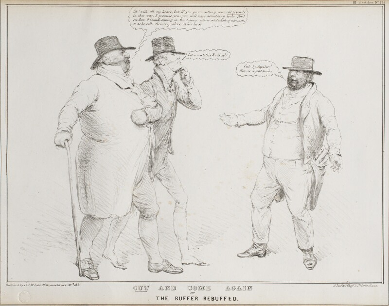 Cut and Come Again or The Buffer Rebuffed (John Bull; Charles Grey, 2nd Earl Grey; Leslie Grove Jones), by John ('HB') Doyle, printed by  Alfred Ducôte, published by  Thomas McLean, published 30 January 1833 - NPG D41173 - © National Portrait Gallery, London