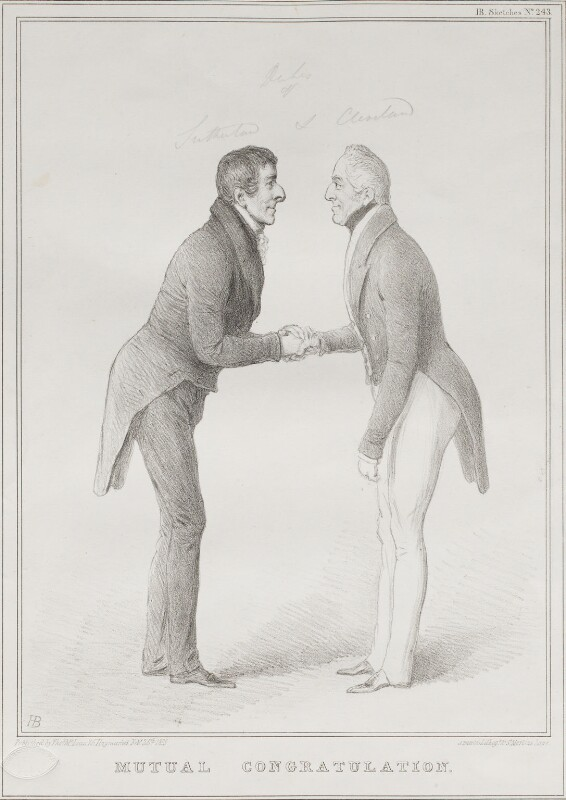 'Mutual Congratulation', by John ('HB') Doyle, printed by  Alfred Ducôte, published by  Thomas McLean, published 26 February 1833 - NPG D41178 - © National Portrait Gallery, London