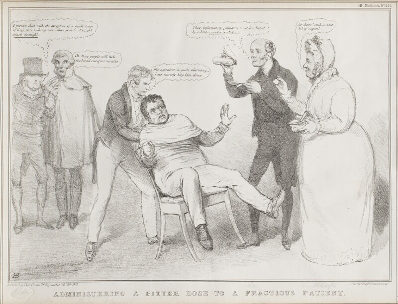 Administering a Bitter Dose to a Fractious Patient, by John ('HB') Doyle, printed by  Alfred Ducôte, published by  Thomas McLean, published 26 February 1833 - NPG D41179 - © National Portrait Gallery, London