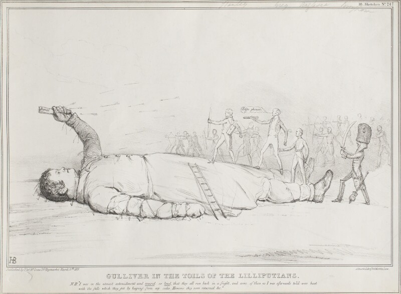 Gulliver in the Toils of the Lilliputians, by John ('HB') Doyle, printed by  Alfred Ducôte, published by  Thomas McLean, published 11 March 1833 - NPG D41182 - © National Portrait Gallery, London