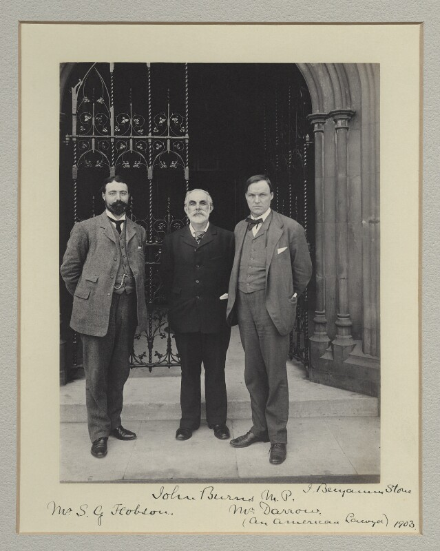 Samuel George Hobson; John Elliott Burns; Clarence Seward Darrow, by Sir (John) Benjamin Stone, 1903 - NPG x135313 - © National Portrait Gallery, London