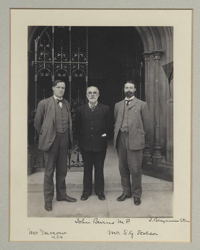 Clarence Seward Darrow; John Elliott Burns; Samuel George Hobson, by Benjamin Stone, 1903 - NPG x135314 - © National Portrait Gallery, London