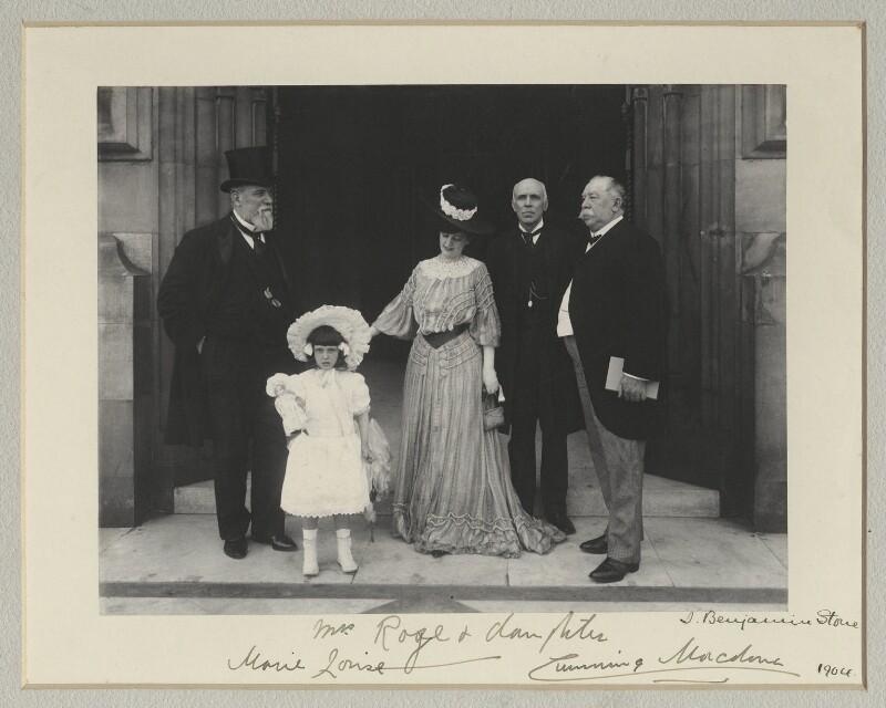Sir John Henniker Heaton, 1st Bt; Marie Louise Rose; Mrs Rose; Sir John Throgmorton Middlemore, 1st Bt; John Cumming Macdona, by Benjamin Stone, 1904 - NPG x135322 - © National Portrait Gallery, London