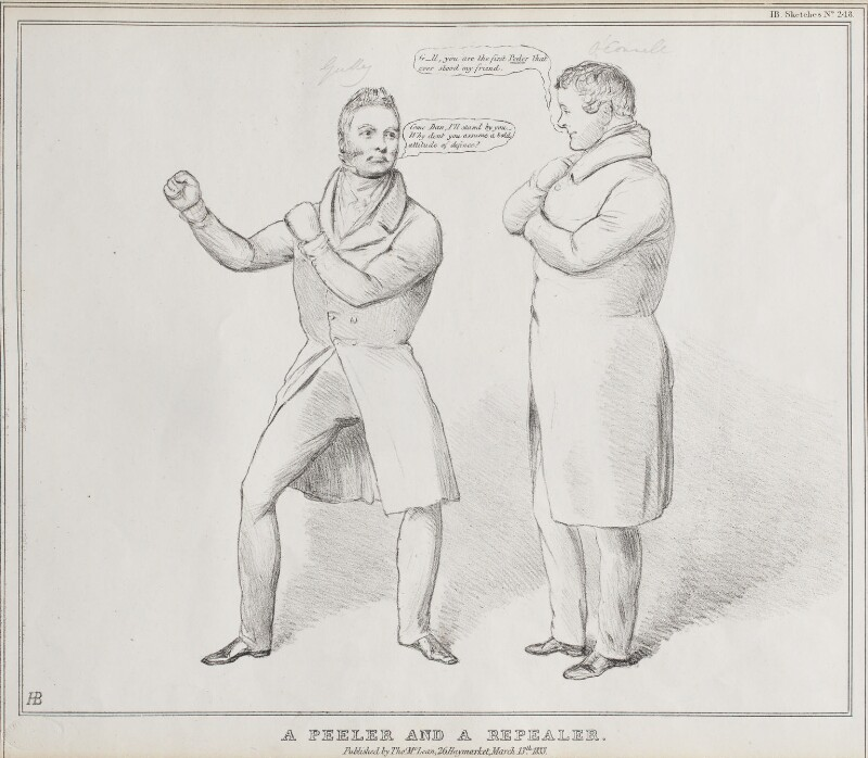 A Peeler and a Repealer (John Gully; Daniel O'Connell), by John ('HB') Doyle, published by  Thomas McLean, published 13 March 1833 - NPG D41183 - © National Portrait Gallery, London