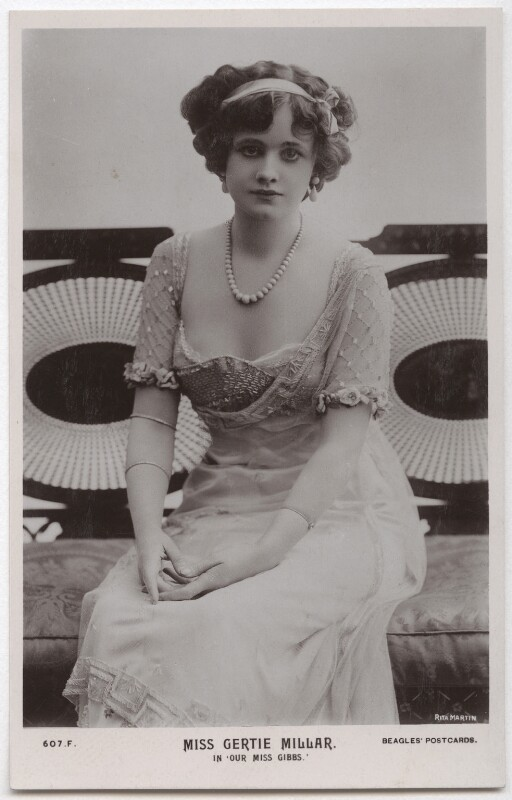 Gertie Millar as Mary Gibbs in 'Our Miss Gibbs', by Rita Martin, published by  J. Beagles & Co, 1909 - NPG x131561 - © National Portrait Gallery, London