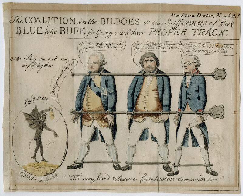 The Coalition in the Bilboes or the Sufferings of the Blue & Buff, for Going Out of their Proper Track, by Unknown artist, May 1792 - NPG D42235 - © National Portrait Gallery, London