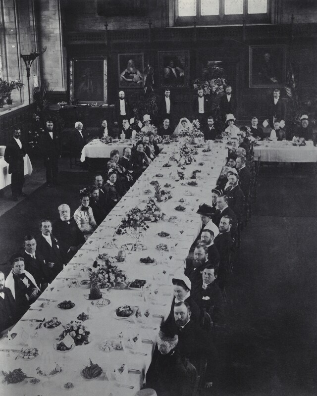 Wedding breakfast for Mary Whitall Smith and Frank Costelloe at Balliol Hall, by Unknown photographer, 3 September 1885 - NPG Ax160643 - © National Portrait Gallery, London