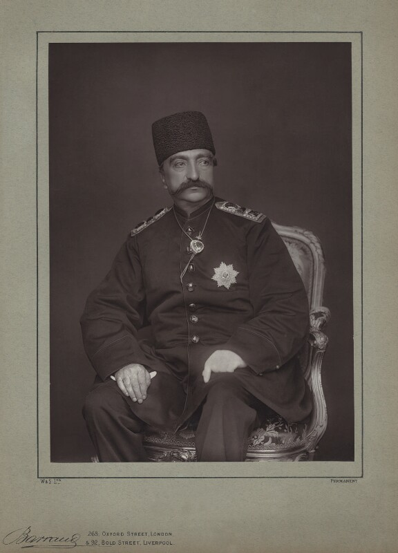 Nasser al-Din, Shah of Persia, by Herbert Rose Barraud, published by  Eglington & Co, published 1889 - NPG x74351 - © National Portrait Gallery, London