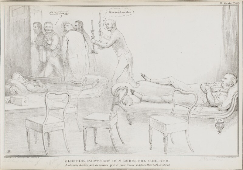 Sleeping Partners in a Doubtful Concern, by John ('HB') Doyle, printed by  Alfred Ducôte, published by  Thomas McLean, published 13 June 1833 - NPG D41203 - © National Portrait Gallery, London